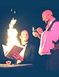 Fire show with magician, Paul Nathan and Juggler Frank Olivier, star in the hit San Francisco theater show Twisted Cabaret.